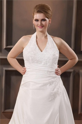 White Plus Size Wedding Dresses With Lace Taffeta A Line Large Size Wedding Gowns Custom Moderate_2