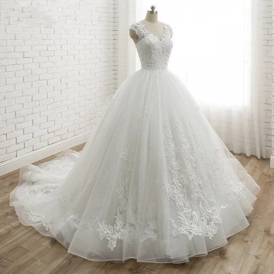 Modern White Wedding Dresses With Lace Princess Organza Wedding Gowns Online_2