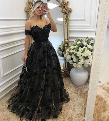 Designer Evening Dresses Black Long Off Shoulder A Line Lace Evening Dress Online_2