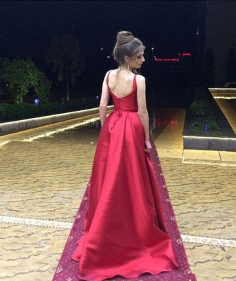 Fashion Evening Dresses Long Red A Line Satin Floor Length Evening Wear Prom Dresses_2