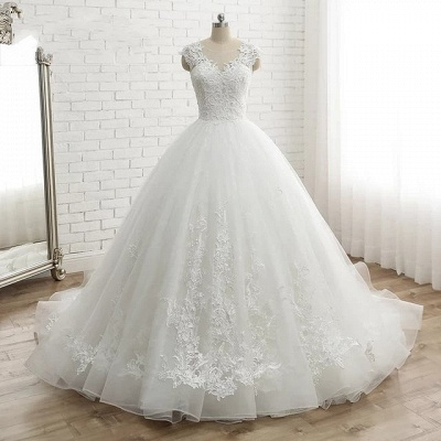 Modern White Wedding Dresses With Lace Princess Organza Wedding Gowns Online_5