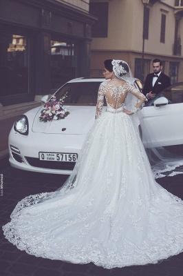 Lang Ärmel Weiß Brautkleider Mit Spitze Prinzessin Hochzeitskleider Brautmoden_2