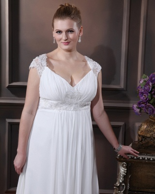 Cheap Wedding Dresses For Large Size Chifonn Long Plus Size Wedding Gowns_3