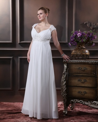 Cheap Wedding Dresses For Large Size Chifonn Long Plus Size Wedding Gowns_5