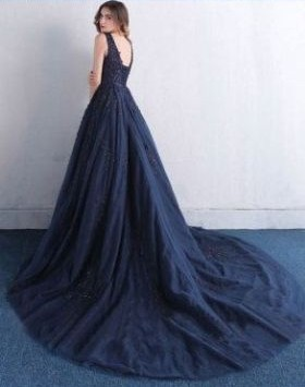 Navy Blue Evening Dresses Long Lace Tulle Prom Dresses Prom Dresses Online_2