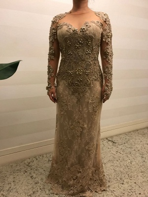 Modern Mother of the Bride Dresses Gold Lace Wedding Party Dresses Long Sleeves Online_1