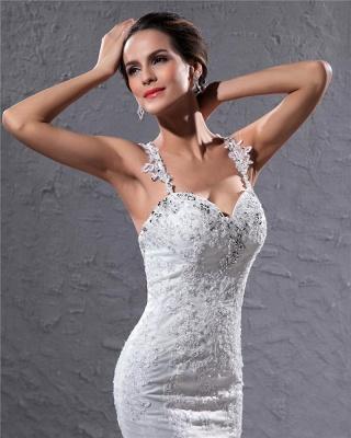 Elegante Weiß Brautkleider Spitze Meerjungfrau Spaghetti Brautmoden Hochzeitskleider Günstig_2