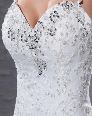 Elegante Weiß Brautkleider Spitze Meerjungfrau Spaghetti Brautmoden Hochzeitskleider Günstig_3