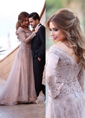 Elegant Evening Dresses Long Sleeves With Lace Crystal Evening Wear Party Dresses_1