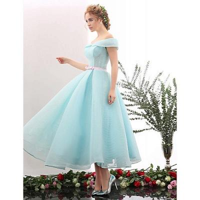 Blue Short Cocktail Dresses A Line Off Shoulder Evening Wear Prom Dresses_3