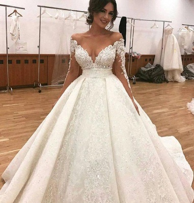Luxury princess wedding dresses with sleeves white bridal gowns cheap online_2
