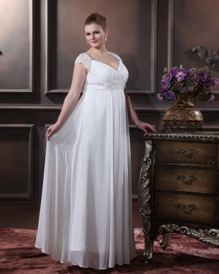 Cheap Wedding Dresses For Large Size Chifonn Long Plus Size Wedding Gowns_4