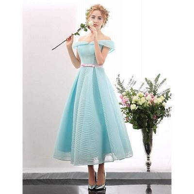Blue Short Cocktail Dresses A Line Off Shoulder Evening Wear Prom Dresses_5
