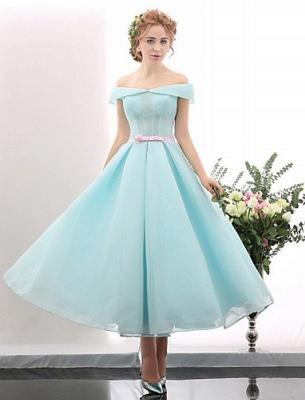 Blue Short Cocktail Dresses A Line Off Shoulder Evening Wear Prom Dresses_1