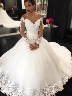 Neue Weiße Brautkleider Lange Ärmel Prinzessin Hochzeitskleider Mit Spitze_1