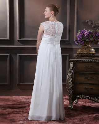 Cheap Wedding Dresses For Large Size Chifonn Long Plus Size Wedding Gowns_2