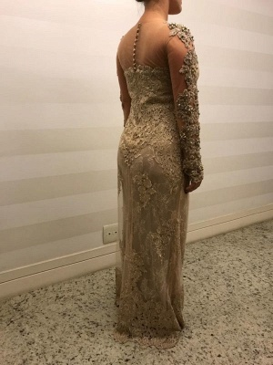 Modern Mother of the Bride Dresses Gold Lace Wedding Party Dresses Long Sleeves Online_2