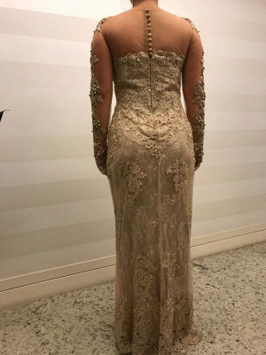 Modern Mother of the Bride Dresses Gold Lace Wedding Party Dresses Long Sleeves Online_3