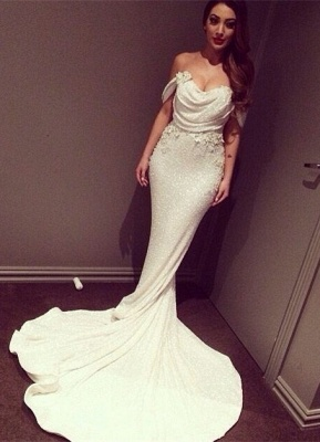 Elegant Weiß Abendkleider Lang Mermaid Schulterfrei Mermaid Abendmoden Abiballkleider_1