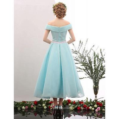 Blue Short Cocktail Dresses A Line Off Shoulder Evening Wear Prom Dresses_2