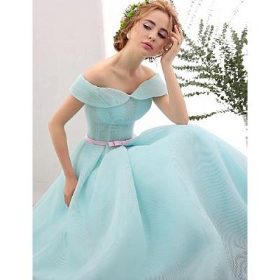 Blue Short Cocktail Dresses A Line Off Shoulder Evening Wear Prom Dresses_4