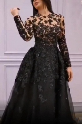 Elegant Evening Dresses Long Black | Lace evening wear with sleeves_1
