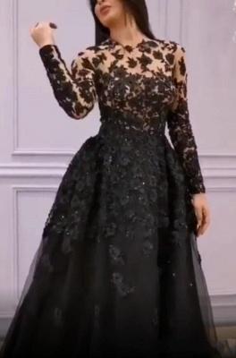 Elegante Abendkleider Lang Schwarz | Spitze Abenmoden Mit Ärmel_1