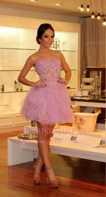 Pink Short Evening Dresses Cocktail Dresses With Lace Prom Dresses Online_2