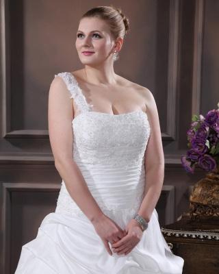 Weiß Brautkleider Übergröße Mit Bolero Spitze Taft Hochzeitskleider Große Größe_2