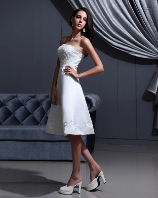 Short Wedding Dresses A Line Satin Knee Length Bridal Wedding Dresses Cheap_2