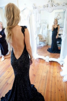 Black Backless Prom Dresses Long With Beading Mermaid Evening Dresses Cocktail Dresses_1