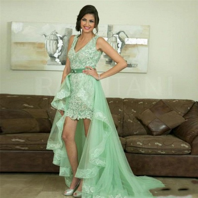 Elegant Prom Dresses Lace Front Short Behind Long Evening Dresses Mint Green_2