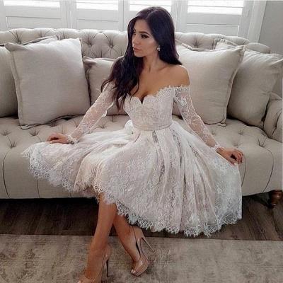 Modern Weiße Brautkleider Kurz A Linie Knielange Hochzeitskleider Mit Ärmel_2