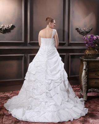 Weiß Brautkleider Übergröße Mit Bolero Spitze Taft Hochzeitskleider Große Größe_5