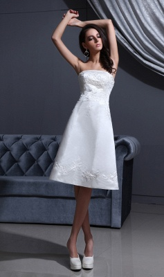 Short Wedding Dresses A Line Satin Knee Length Bridal Wedding Dresses Cheap_1