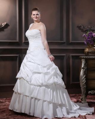 Weiß Brautkleider Übergröße Mit Bolero Spitze Taft Hochzeitskleider Große Größe_4