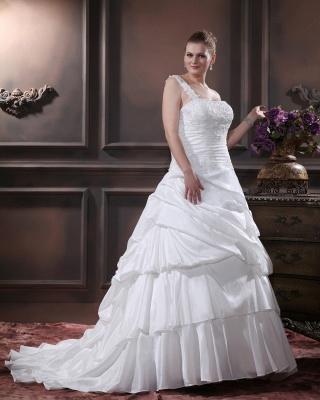 Weiß Brautkleider Übergröße Mit Bolero Spitze Taft Hochzeitskleider Große Größe_3