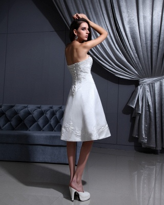 Short Wedding Dresses A Line Satin Knee Length Bridal Wedding Dresses Cheap_4