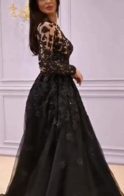 Elegant Evening Dresses Long Black | Lace evening wear with sleeves_2