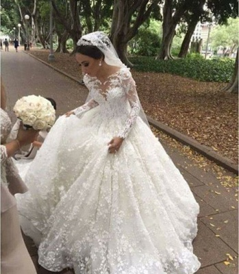 White wedding dresses with long sleeves princess lace wedding gowns_1