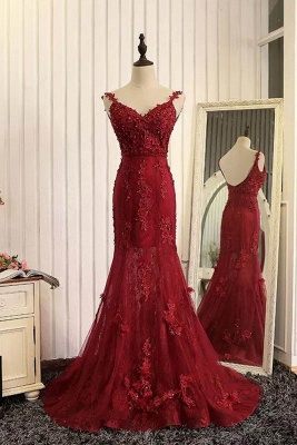Schicke Rote Abendkleider Sptize Herz Meerjungfrau Tüll Abendmoden Abiballkleider_1