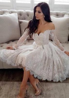 Modern Weiße Brautkleider Kurz A Linie Knielange Hochzeitskleider Mit Ärmel_1