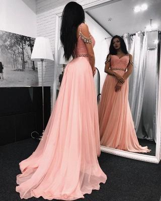 Rosa Abendkleider Lang Günstig Schulterfrei Chiffon Abiballkleider Online_1