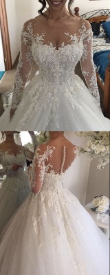 Luxury white wedding dresses with sleeves princess lace bridal gowns cheap_3