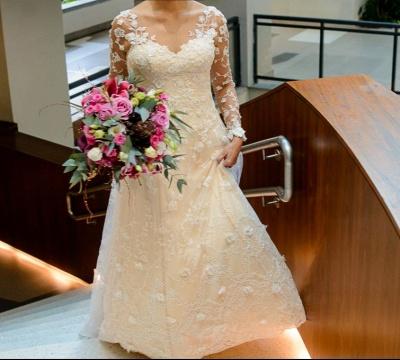 Schlichte Brautkleider Spitze Mit Lange Ärmel A Linie Hochzeitskleider_3