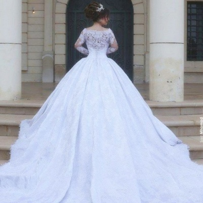 Buy Designer Wedding Dresses Long Sleeves Lace White Princess Bridal Wedding Dresses Online_4