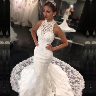 Günstig Weiß Hochzeitskleider Spitze Neckholder Meerjungfrau Brautkleider Hochzeitsmoden Günstig_2