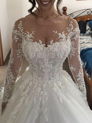 Luxury white wedding dresses with sleeves princess lace bridal gowns cheap_1