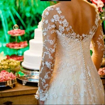 Schlichte Brautkleider Spitze Mit Lange Ärmel A Linie Hochzeitskleider_5