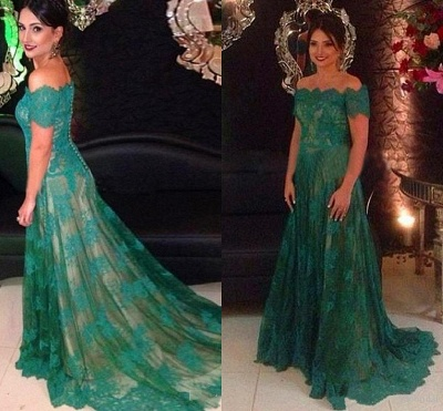 Green Evening Dresses Long Lace With Sleeves A Line Off Shoulder Evening Wear Prom Dresses_2